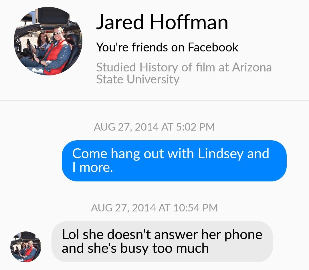 Note: Jenny's statement is blue, Jared's clueless response appears in grey.