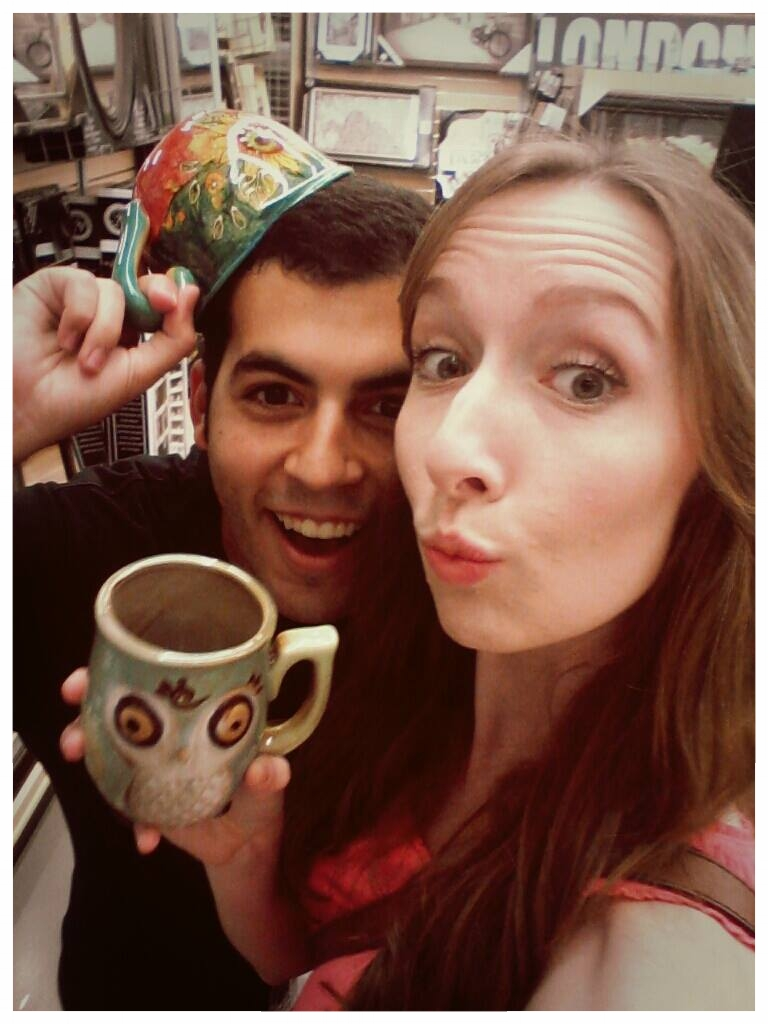 #Throwback This was us at Bed Bath and Beyond just an hour after painting those cups. See those 2 mugs in our hands? Those were the ones we'd gift each other in case the pottery date didn't turn out.....