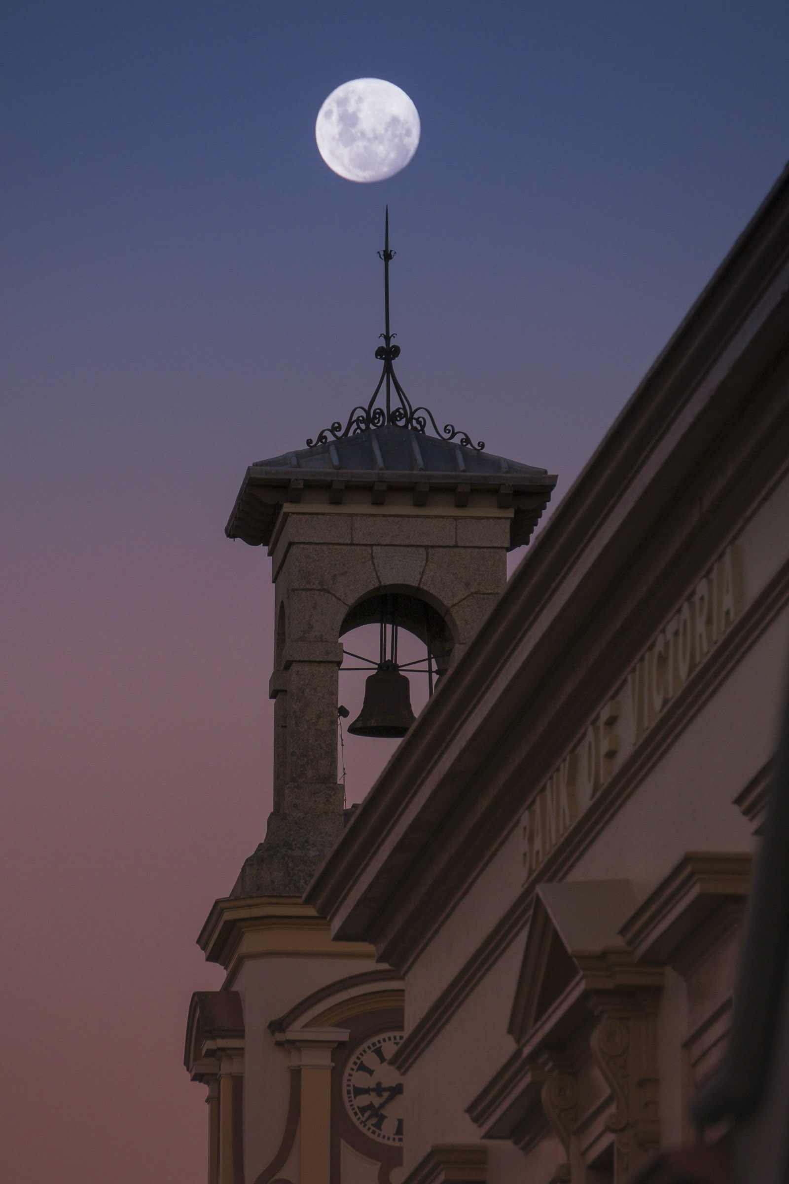 Moon over Post Office clocktower