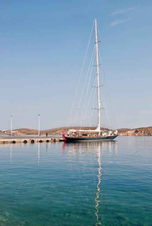 A sailboat docked on Paros.
