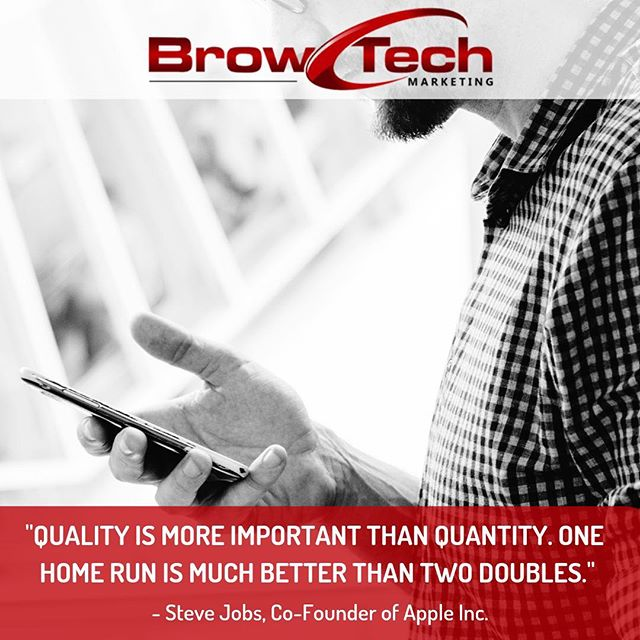 Quality over quantity. This applies to everything in life, especially marketing. 10 ads are irrelevant compared to one viral post. A way to improve quality is through research. Market Research can provide you with vital insights that are key to producing quality posts.  FOLLOW @browtechmarketing  FOLLOW @browtechmarketing  FOLLOW @browtechmarketing