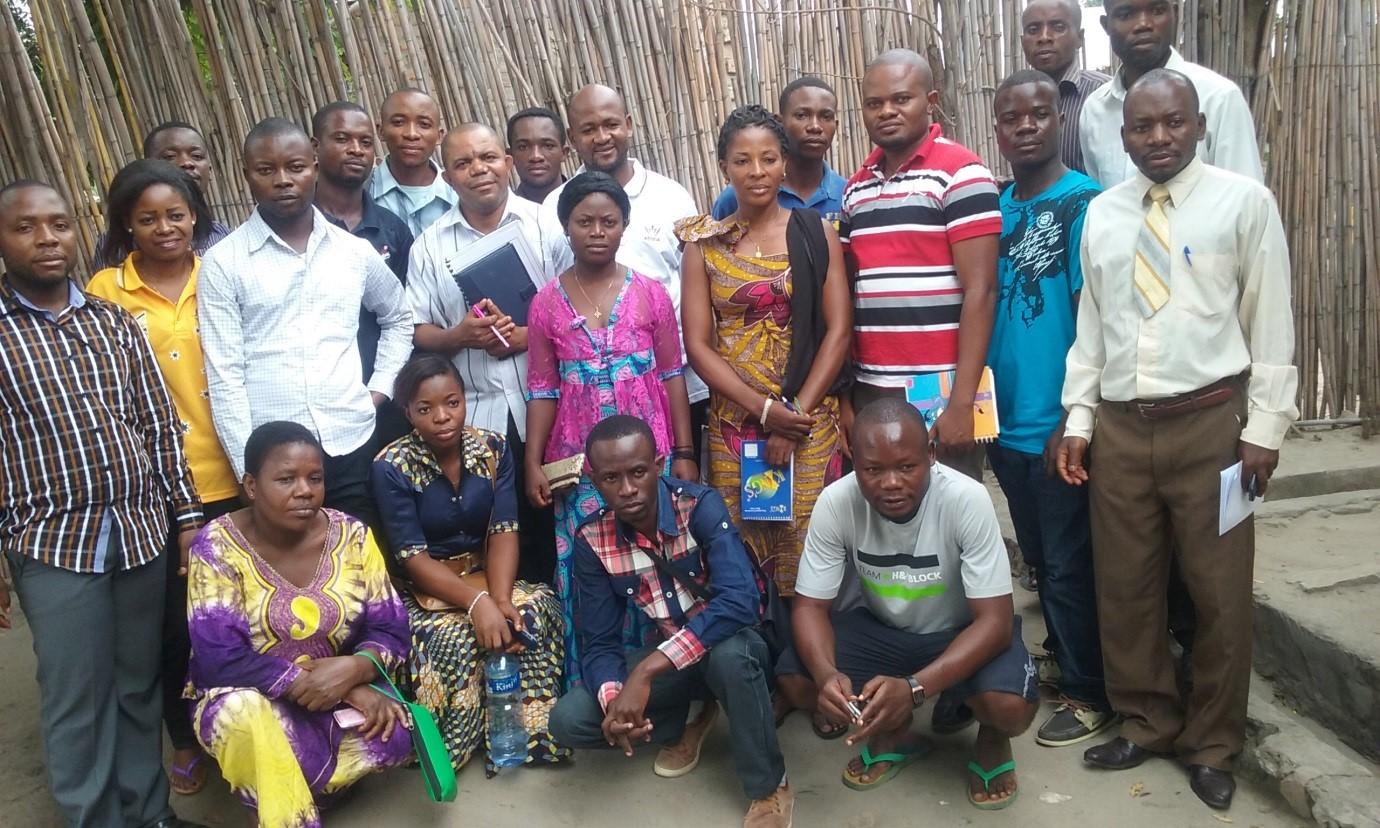 The Executive Director Mr Theophile Elongo with ASSIDA Volunteers in Baraka Fizi, Eastern of the Democratic Republic of the Congo