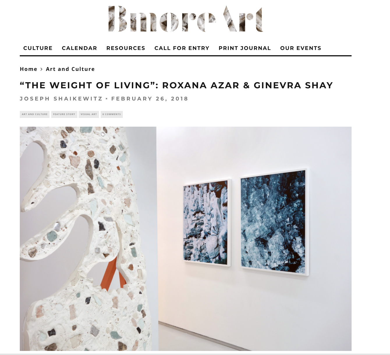 Read Joseph Shaikewitz's review of Ginevra Shay and Roxana Azar's exhibition on  BmoreArt