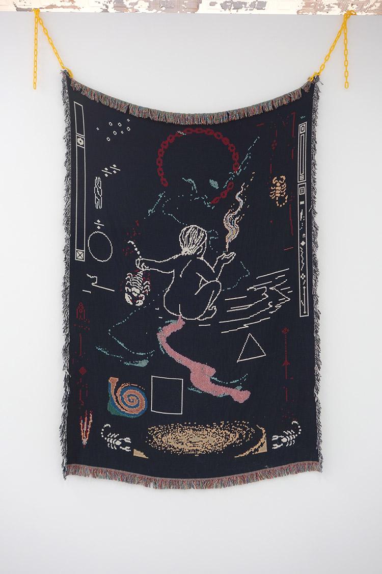 """Somnath Bhatt Scorpio Rising Digital Printed Tapestry and Hardware 72"""" x 50"""""""
