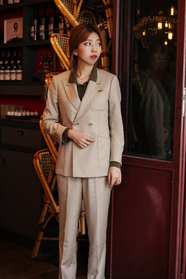charcuterieet terroir - beige SUPER 120s double breasted suit