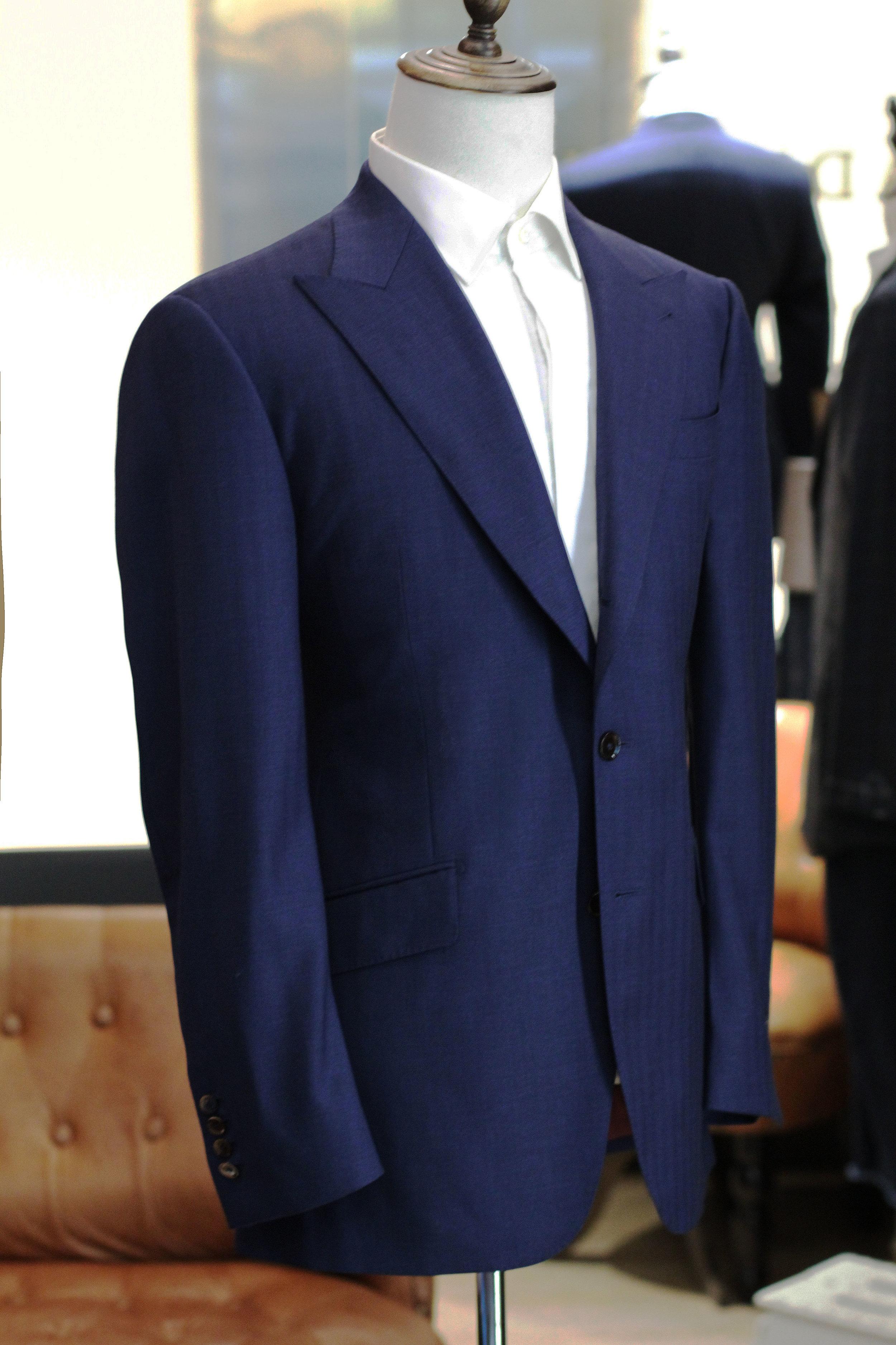 Made Suits Mr Berg Peak Lapel Suit Herringbone Navy Blue Made to Measure Suit Bespoke.JPG