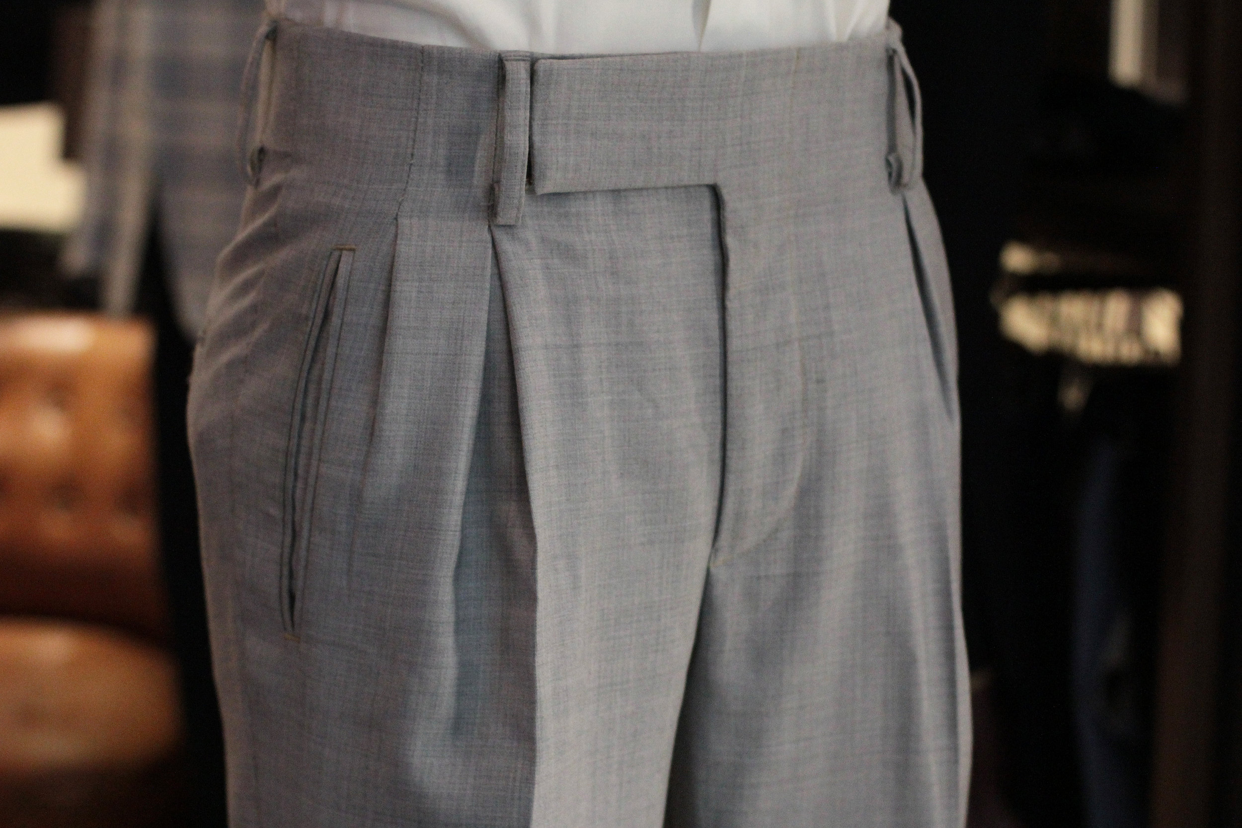 Light Grey Wool Super 120s inverted pleats box pleats front.JPG