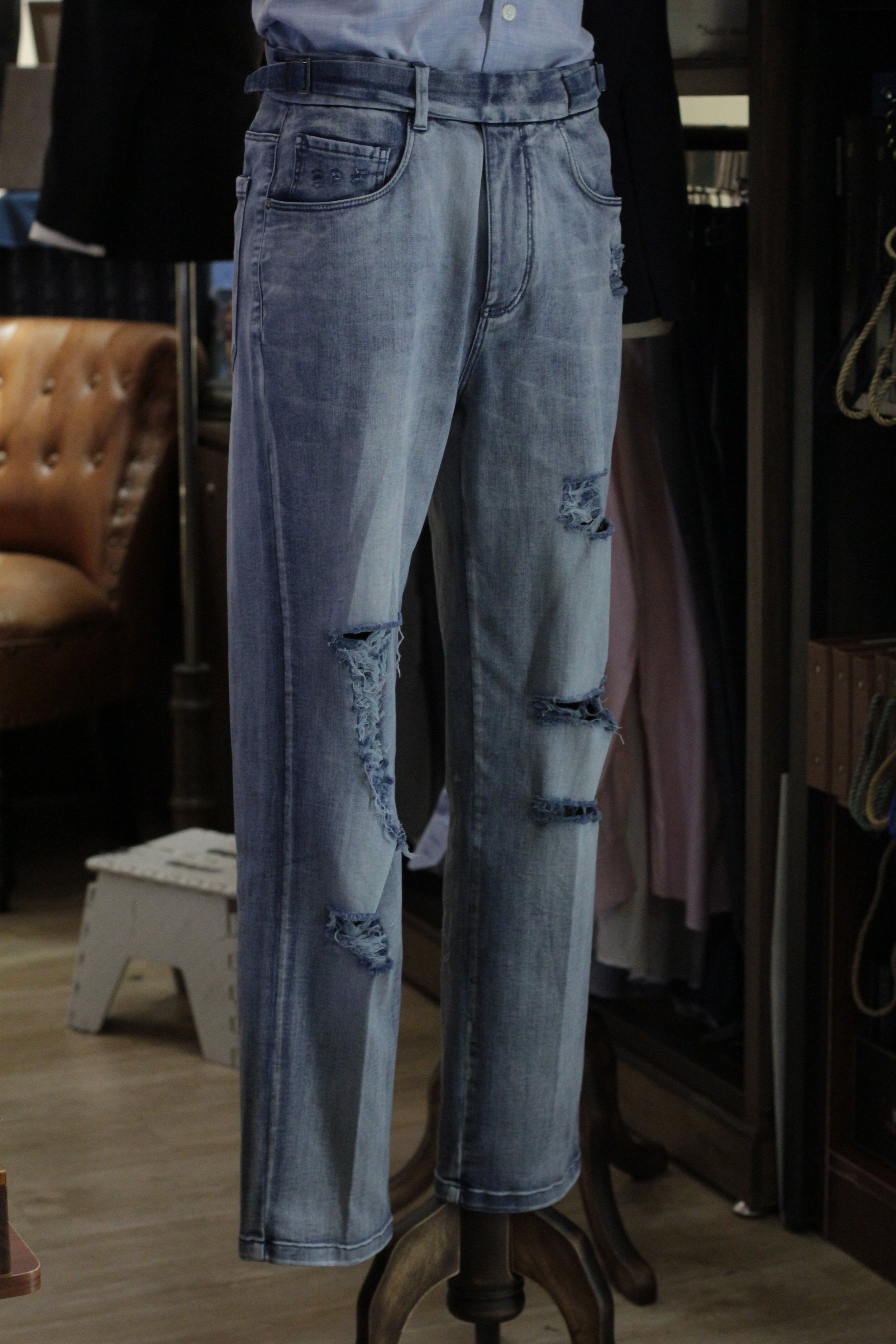 Fully Ripped Side Adjusters Gurkha Denim Jeans