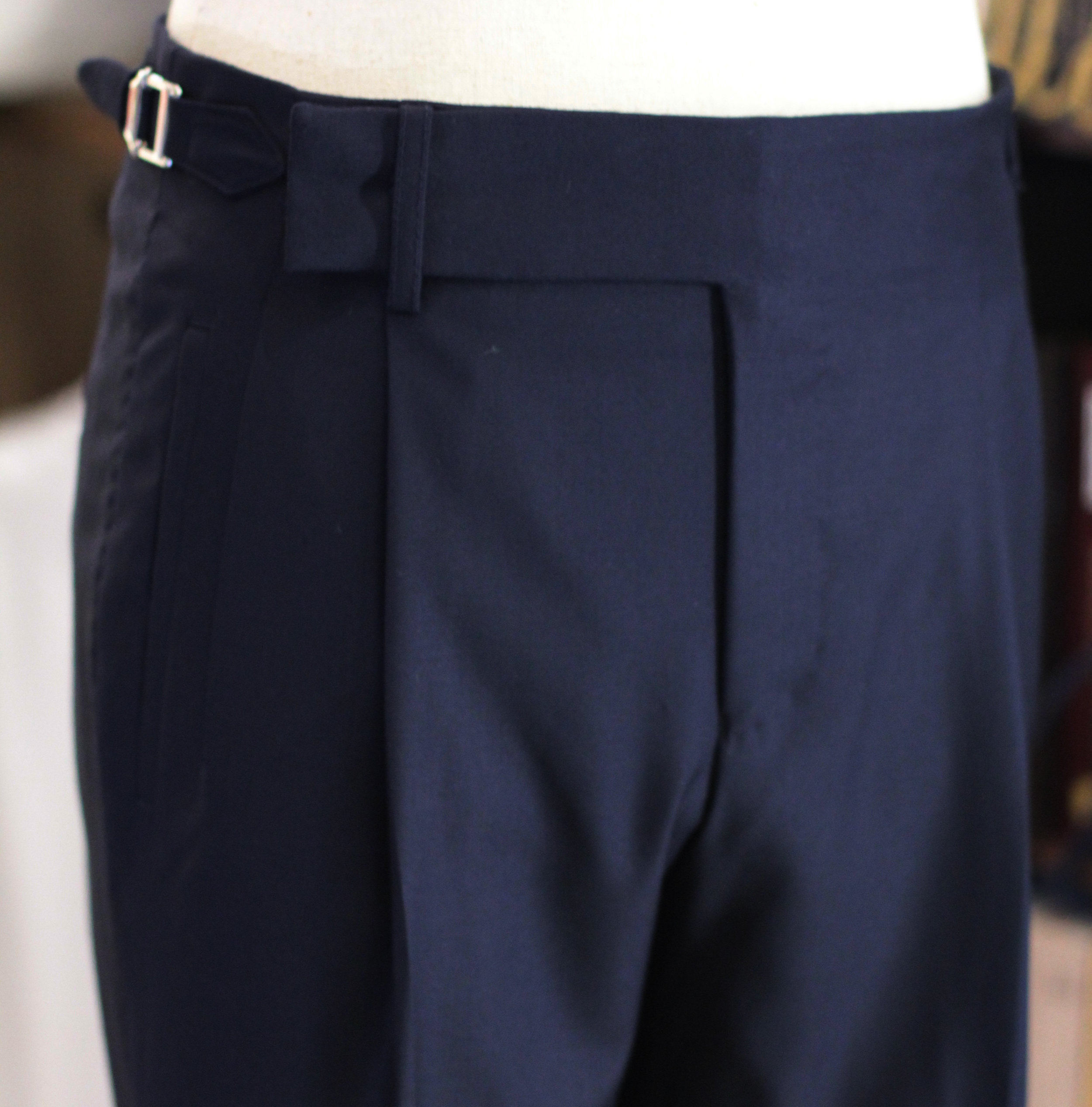 Navy Blue Holland Waistband Pleats Trousers Double Pleated Trousers FILARTE view.JPG