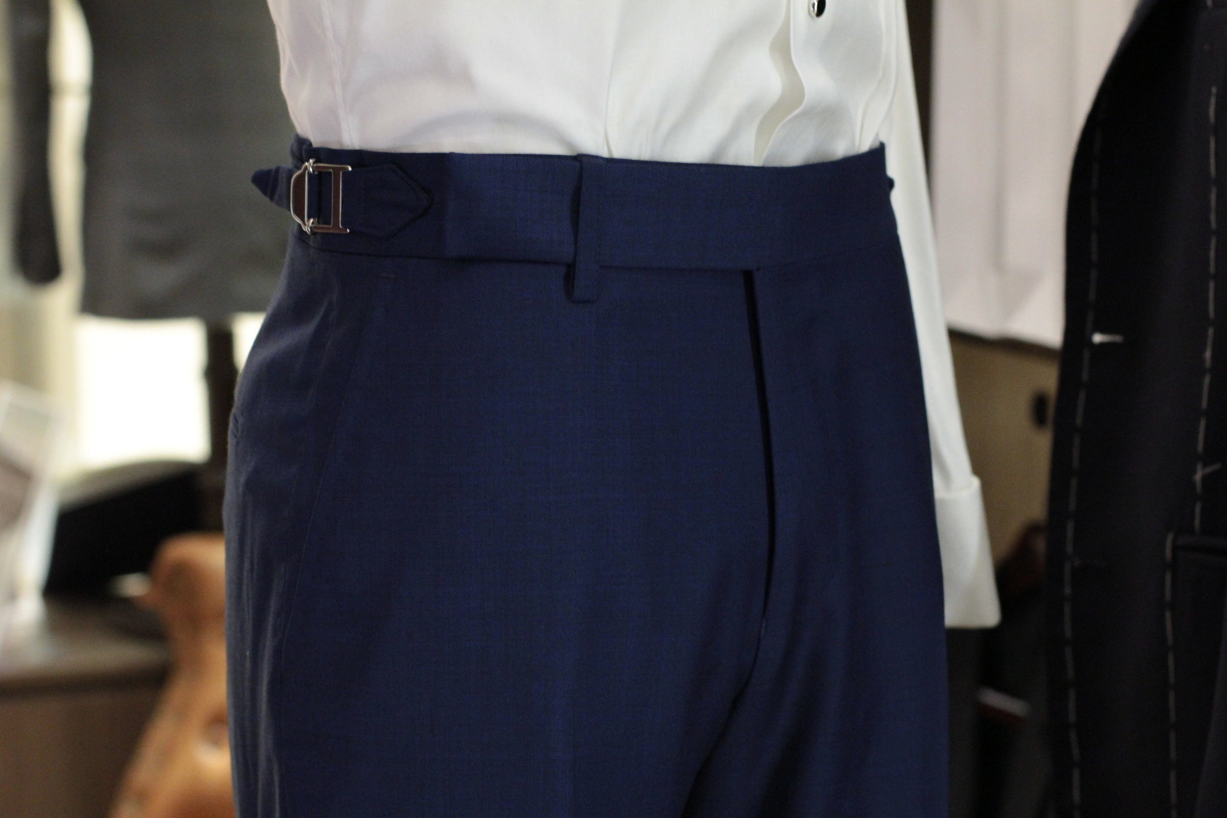 Blue Lanky Super 130s midweight blue Trousers Double Pleated Trousers.JPG