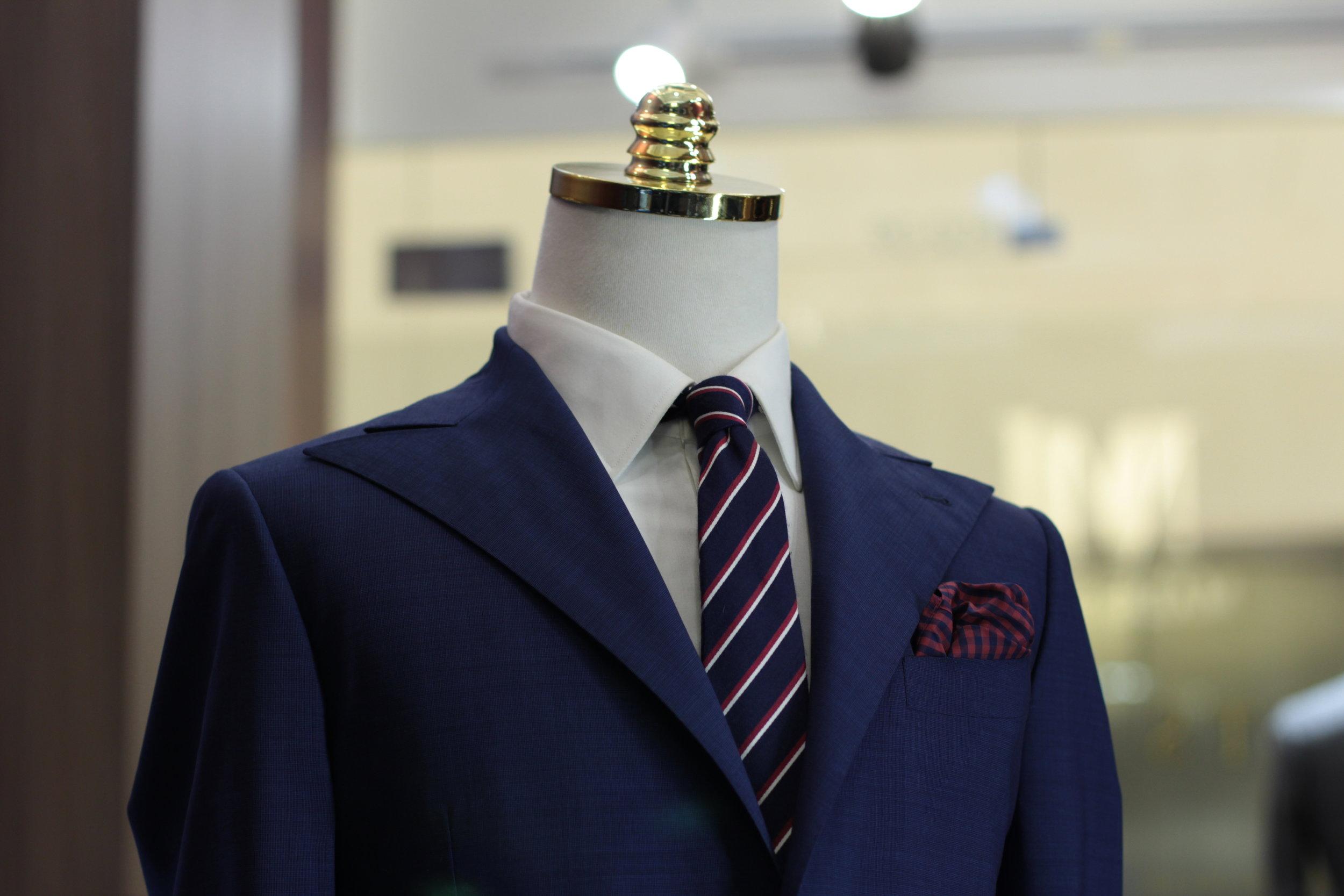 Made Suits Blue Sparrow Peak Lapel Suit Herringbone Black Suit Made to Measure Suits.JPG