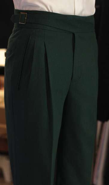 Linen Emerald green gurkha trousers bespoke made to measure made suits singapore Side Adjusters 1.png