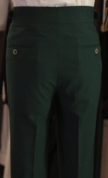 Linen Emerald green gurkha trousers bespoke made to measure made suits singapore Side Adjusters back pockets 1.png