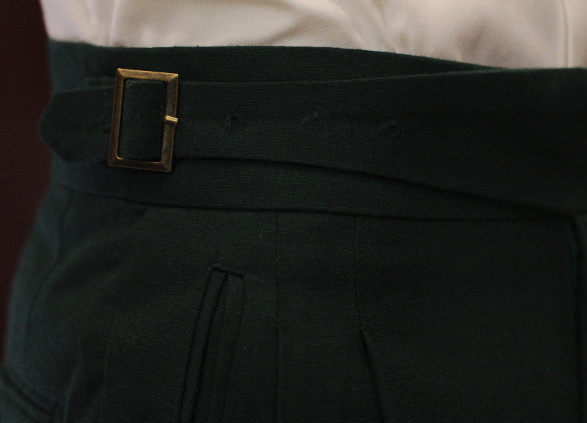 Linen Emerald green gurkha trousers bespoke made to measure made suits singapore Side Adjusters Bronze Side Adjusters 1.png