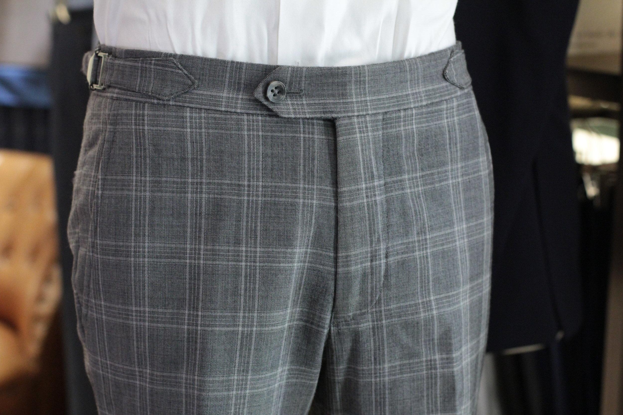 Super 110 Vitale Barberis Canonico Grey Glen Checks Trousers Bespoke Trousers | MadeSuits back pocket front.JPG