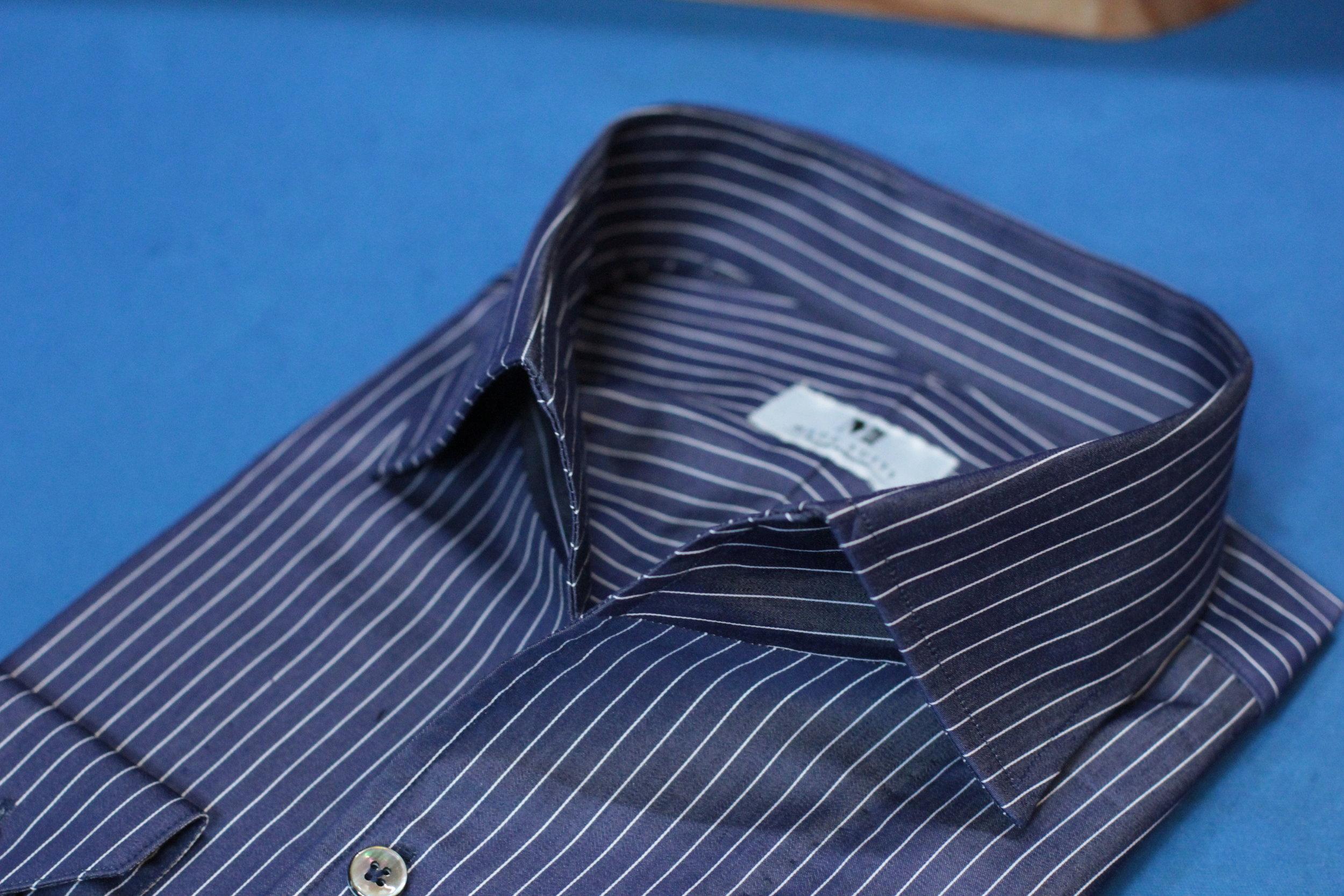 Blue STYLBIELLA | MADE SUITS One Piece Collar Bespoke Shirt Singapore.JPG