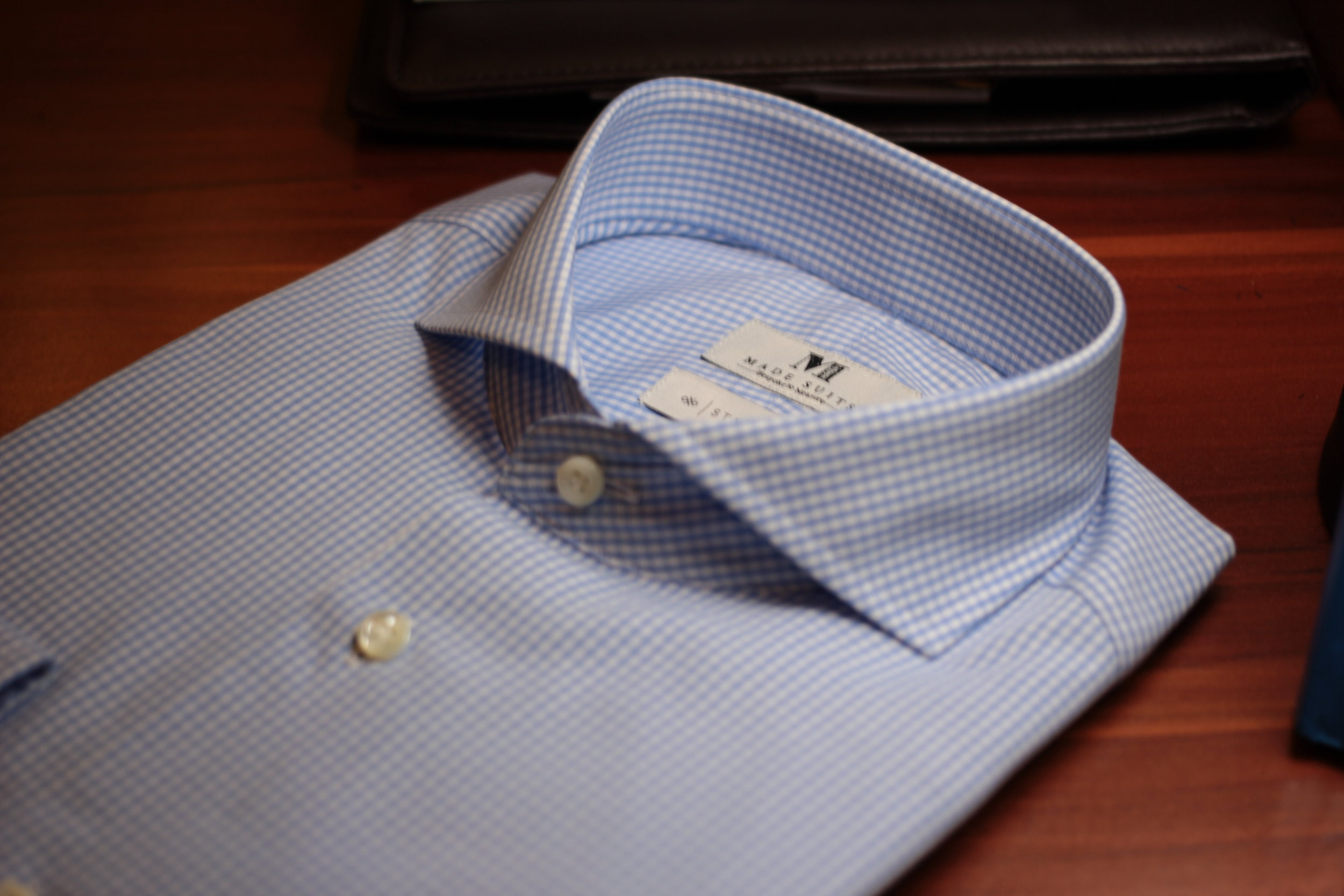Blue Gingham Checks Stylbiella | Made Suits Shirts | Made to measure Shirts collar.JPG