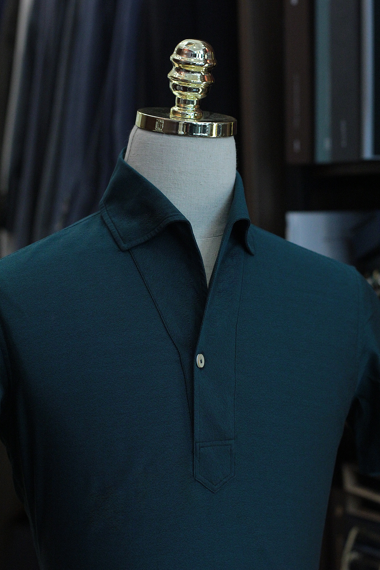 Green Emerald Polo Shirt | Made Suits | Singapore Made to Measure | Bespoke Tailor collar.JPG