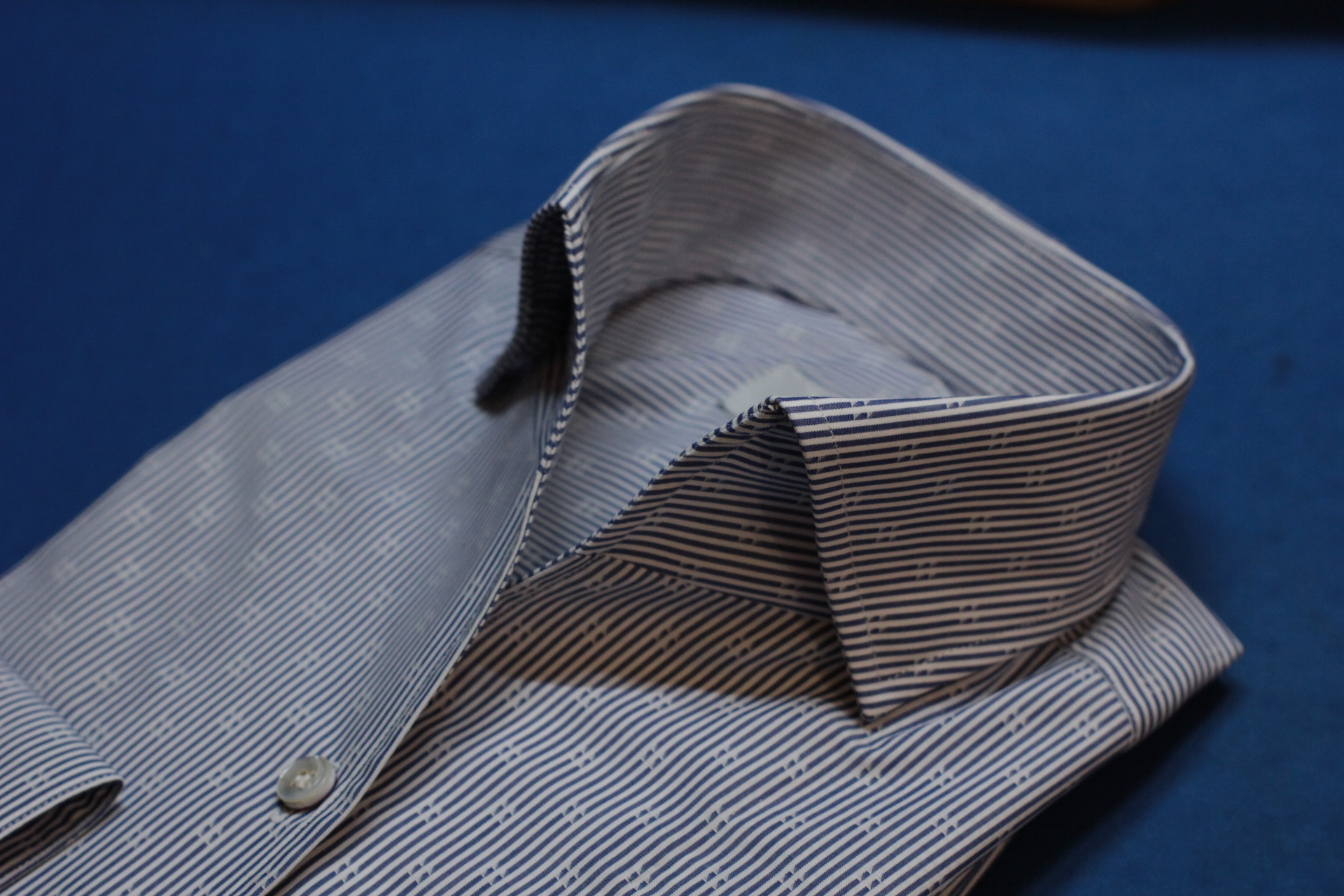 Blue Ship Stripe One Piece Collar Made Suits Shirts | Made to measure Shirts.JPG