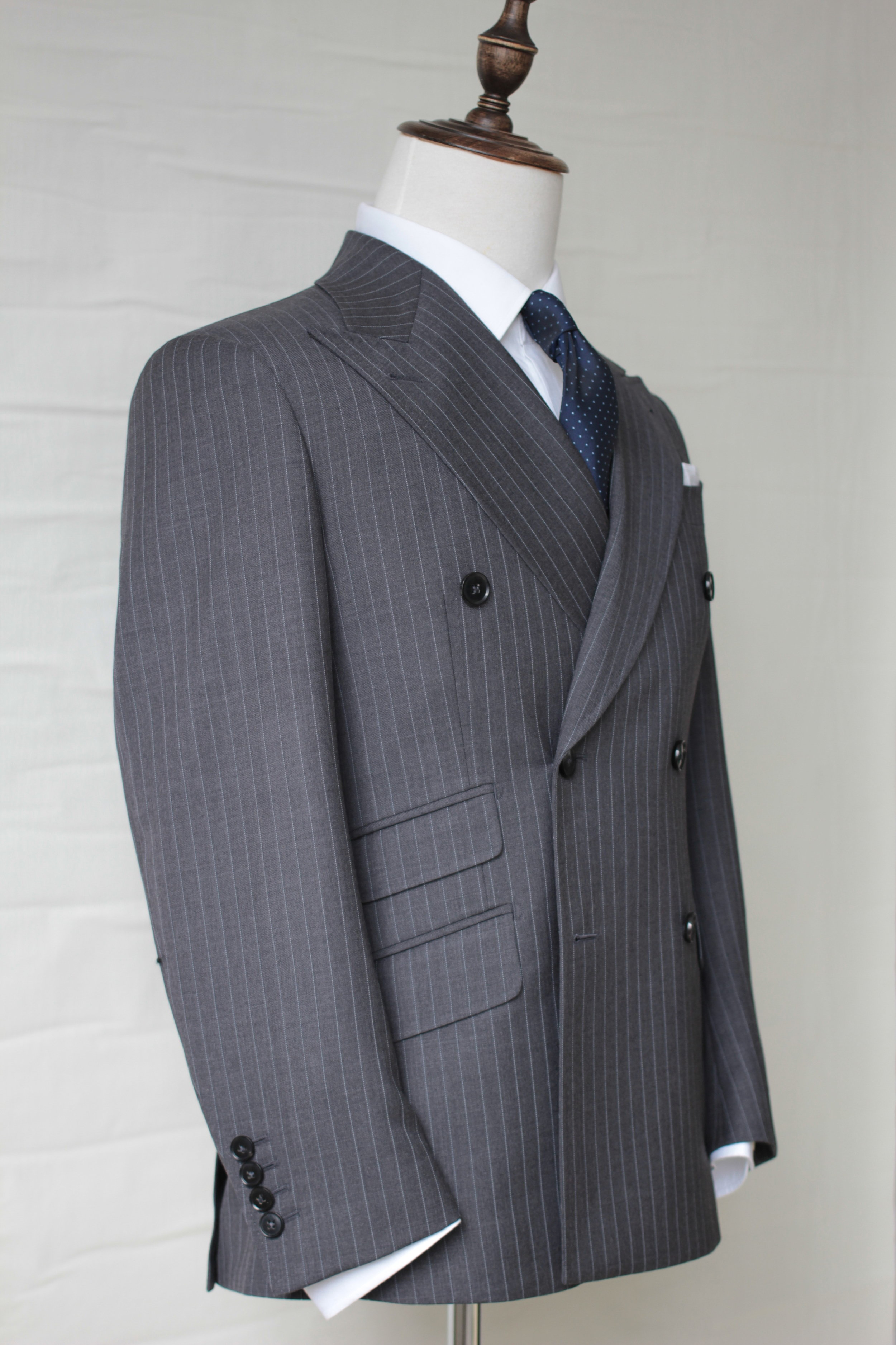 Mr Galahad | Double Breasted Suit | Tailor Made Suits | Singapore Suits | Pinstripe Kingsman suit side view.JPG