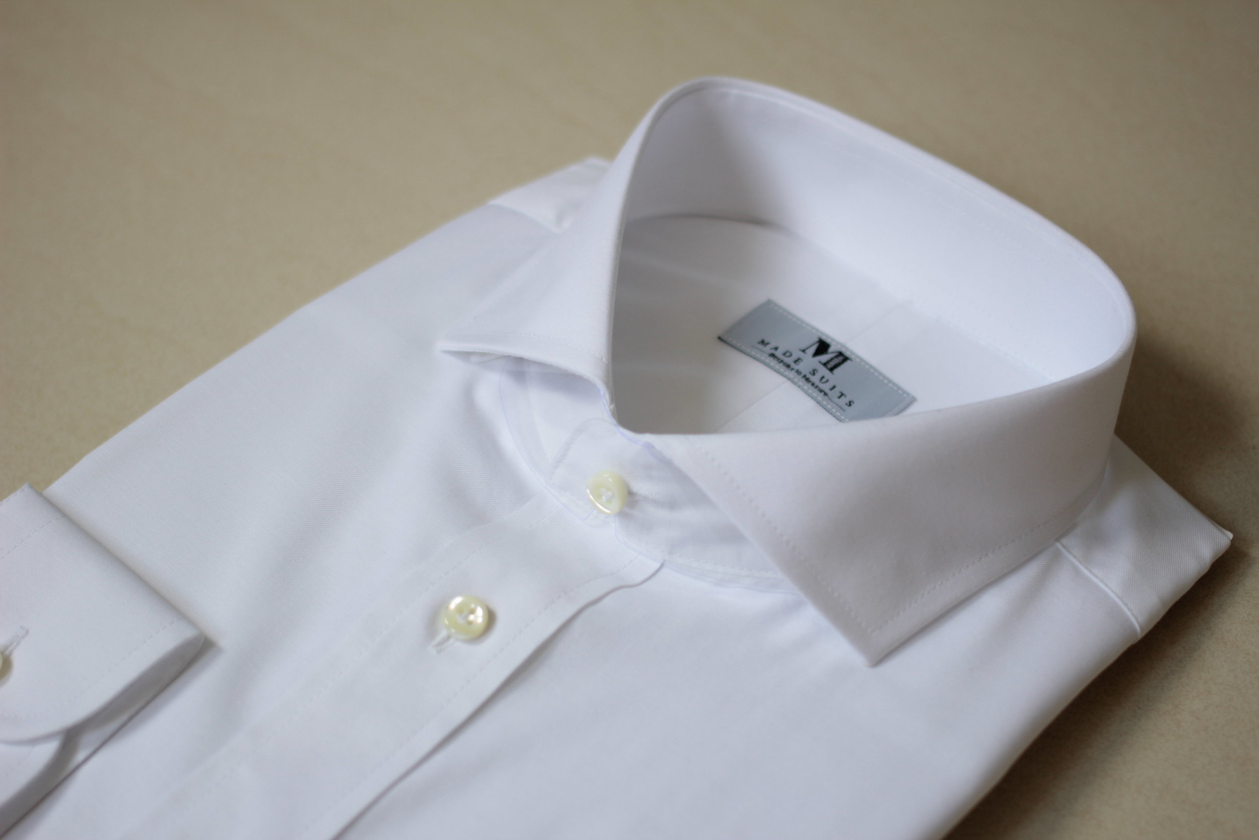 White Fine Twill | Tailor Made Shirts | Singapore Tailored Shirts | Bespoke Shirts Made Suits | Made Suits 209A Side.JPG