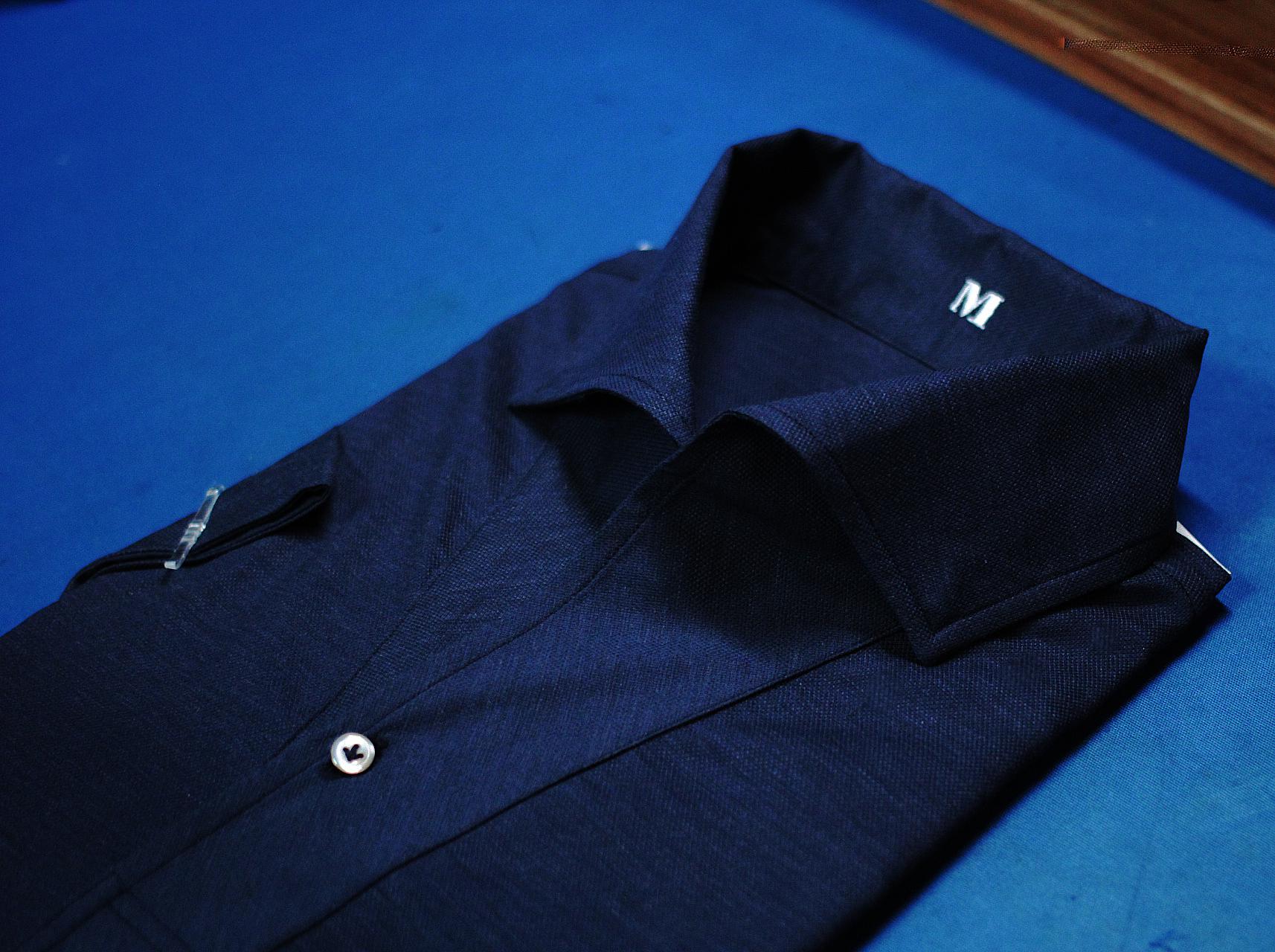 Weave Blue Navy Polo Shirt | Made Suits | Singapore Made to Measure Polo | Bespoke Tailor closeup.JPG