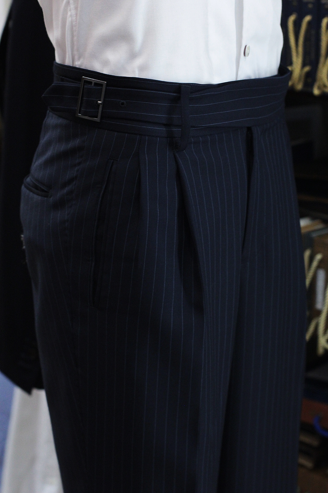Super 120s Pinstripe Gurkha Trousers Double Pleated Trousers Singapore Bespoke Tailor Made to Measure | Made Suits.JPG