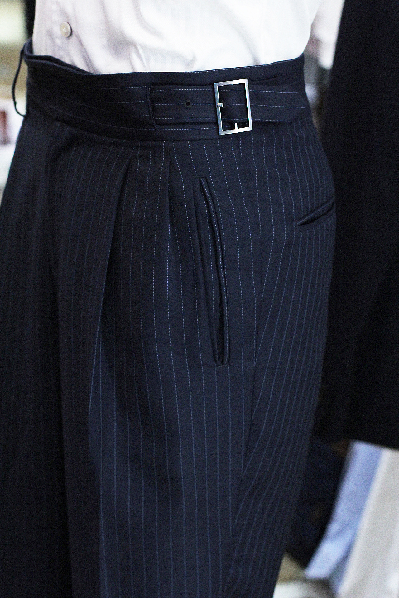 Super 120s Pinstripe Gurkha Trousers Double Pleated Trousers Singapore Bespoke Tailor Made to Measure.JPG