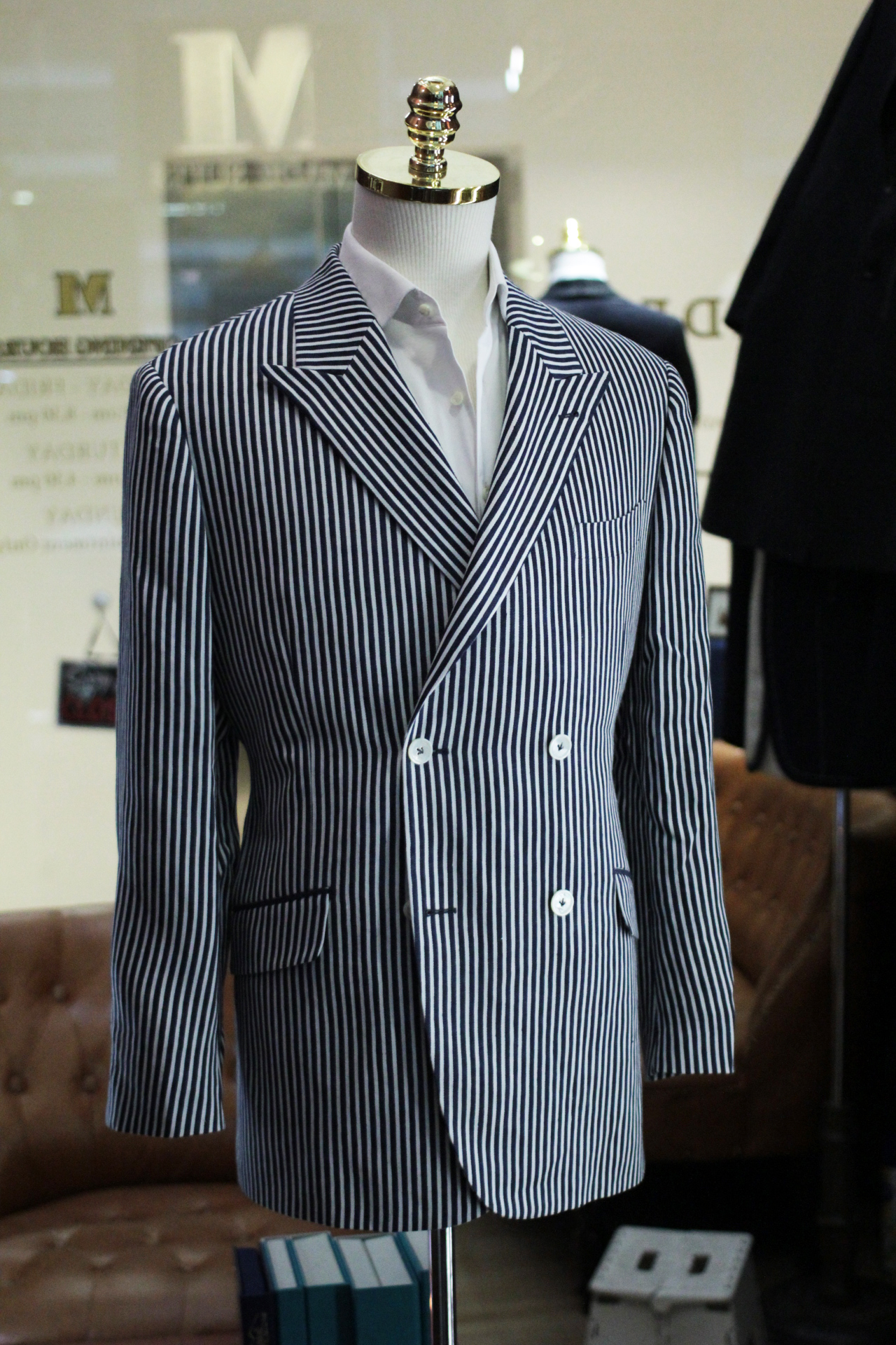Blue Ming | Stripes Double Breasted Suit | tailor suit singapore | made suits singapore | MARZONI side view full.JPG