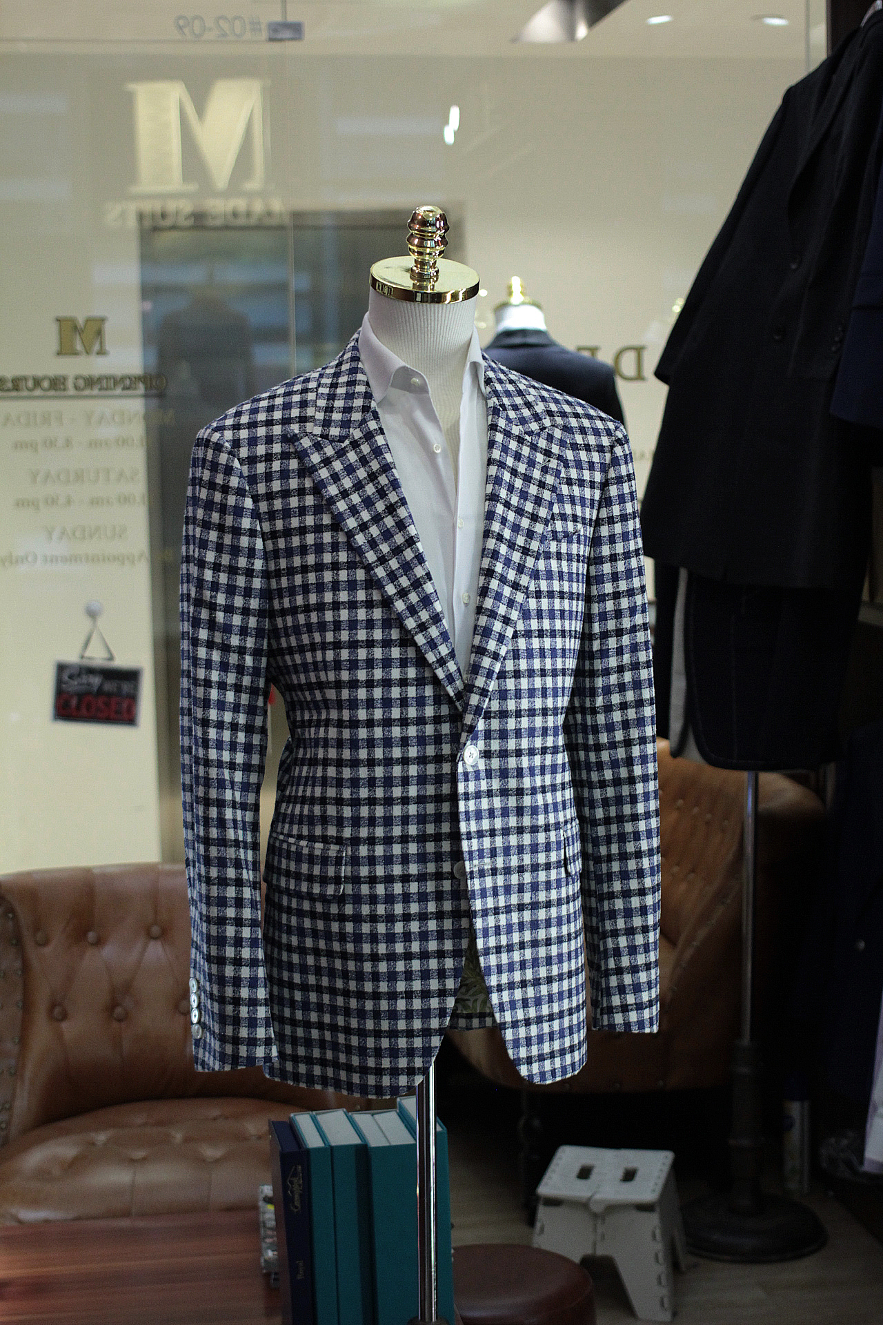 Ribbon | MARZONI | Tailor Made Suits | Made Suits Singapore | Blazer | Checks Single Breasted Suit side view.JPG
