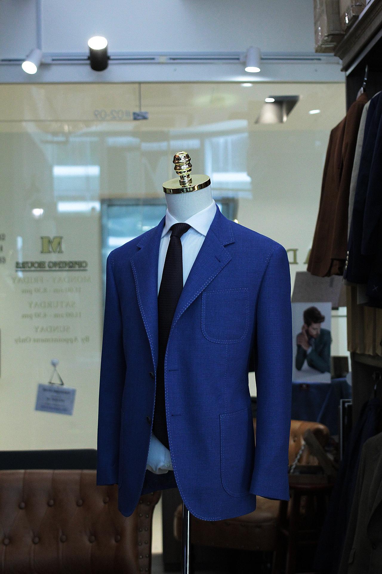BLUEFEEL | DRAGO | HOPSACK | SUPER 140s Bluefeel hopsack drago spa | made suits | singapore tailor suits side view.JPG