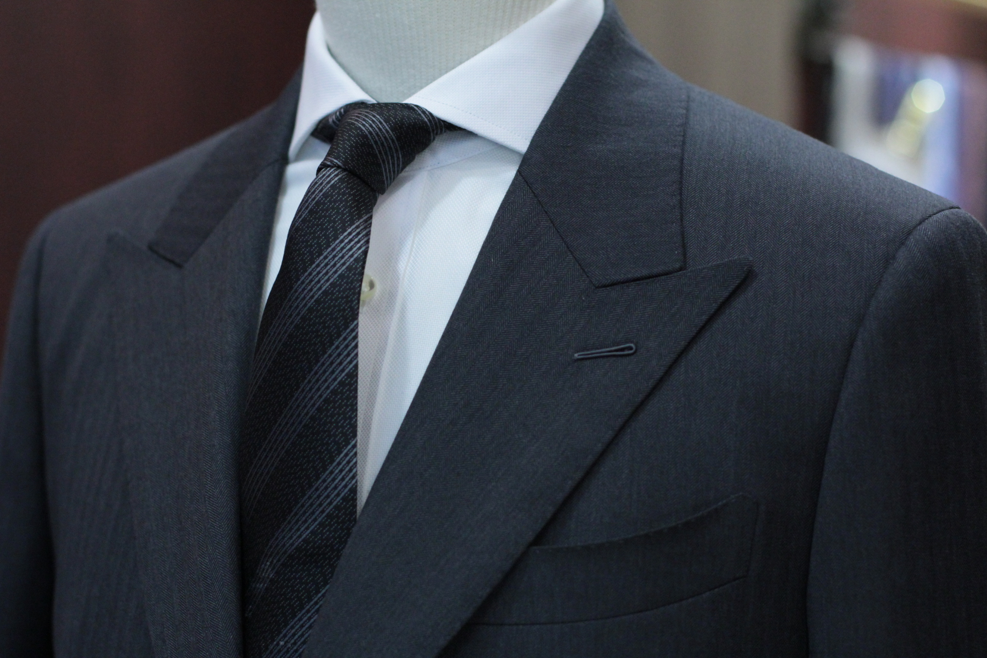 The Teller MADE SUITS Guabello Grey Herringbone Suits | Tailor Made Suits Singapore front 1.JPG
