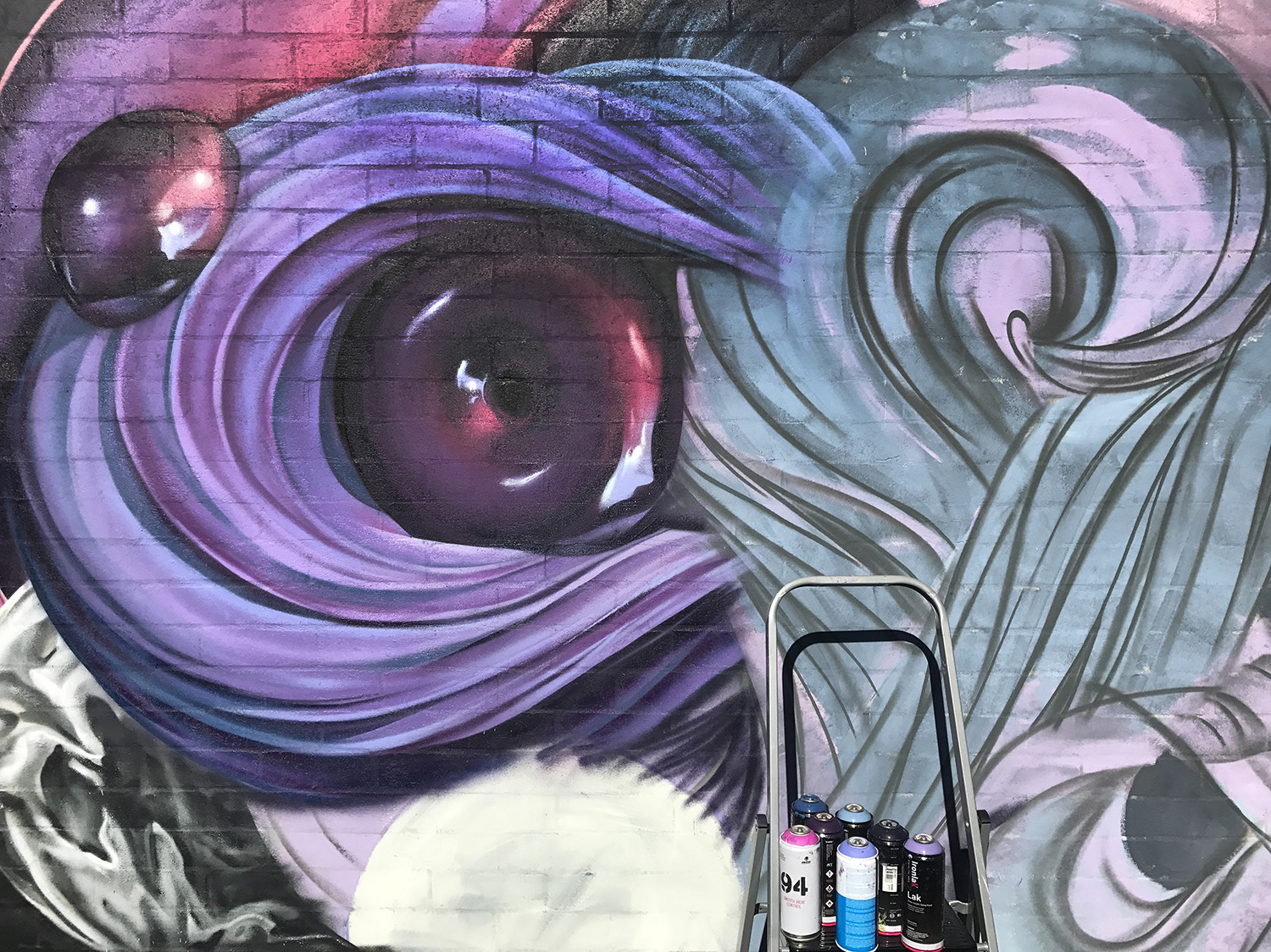 Swirls and reflections. Mural work in progress