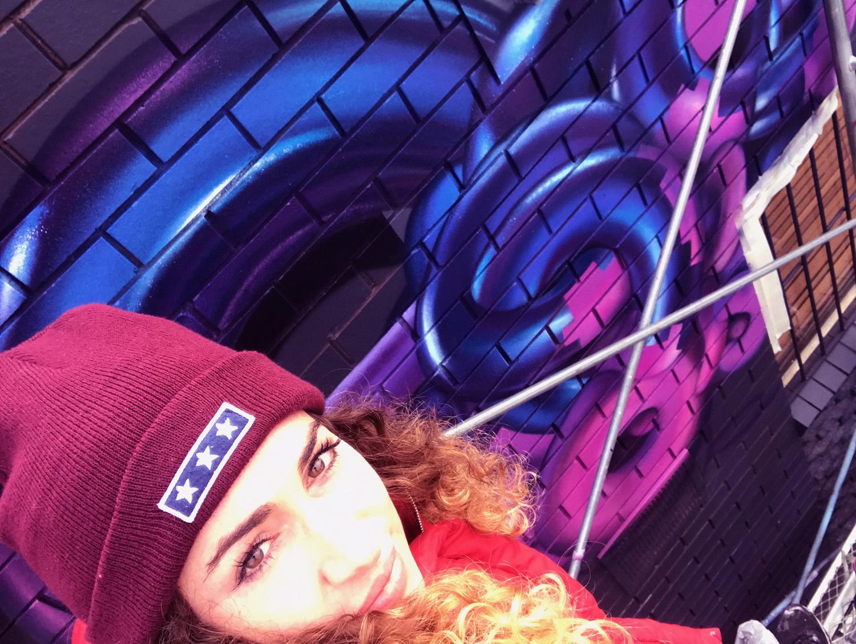 Selfie with street art mural