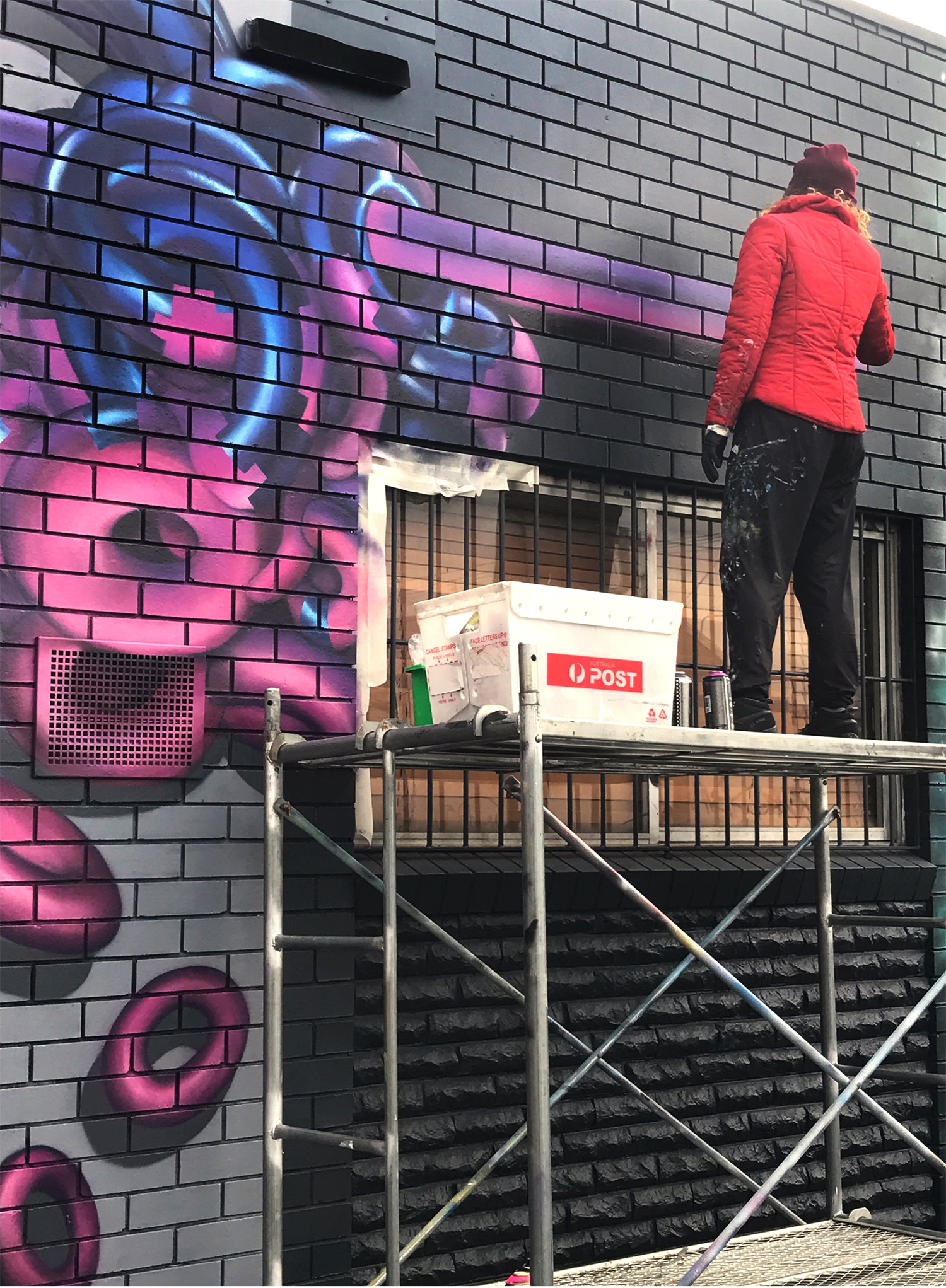 Street art mural painting progress