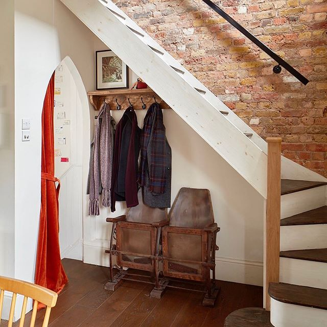 My #entrance landing: exposed #brickwall , new #staircase , #red #velvet #curtain , #cinemachairs and #coatrack - 📷Matt Clayton - #landingdesign #entrancedesign #hallway #hallwaydecor #staircasedesign #handrail