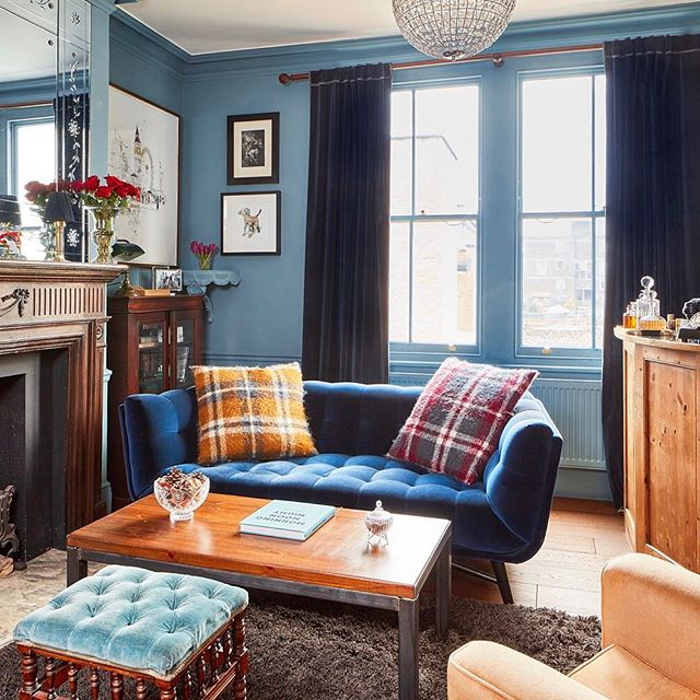 @alexandreinteriors designs - #cosy #livingroom mixing #contemporary #industrial and #vintage #antiques #styles - I just love mixing it up 😀 - #interiordesign #cosyhome #britishinteriors #frenchinteriors #bluewalls #interiordecorating #interiorinspiration #hoxton #london #bethnalgreen #londone2