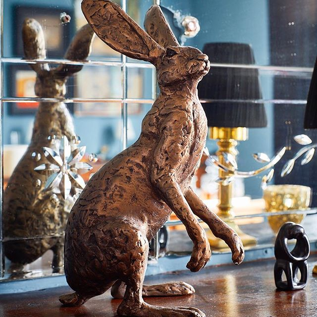Apparently I have thing for #hares ! I have various ones at home... particularly like that one above my #fireplace - #interiorobjects #rabbits #hare #interiorstyling #decoration #decor #mirror