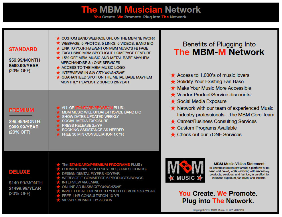 The MBM Musician Network Program You Create. We Promote. Plug into The Network. Details
