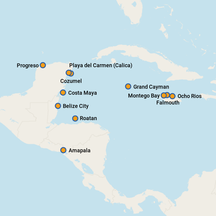 Western Caribbean cruise ports.png