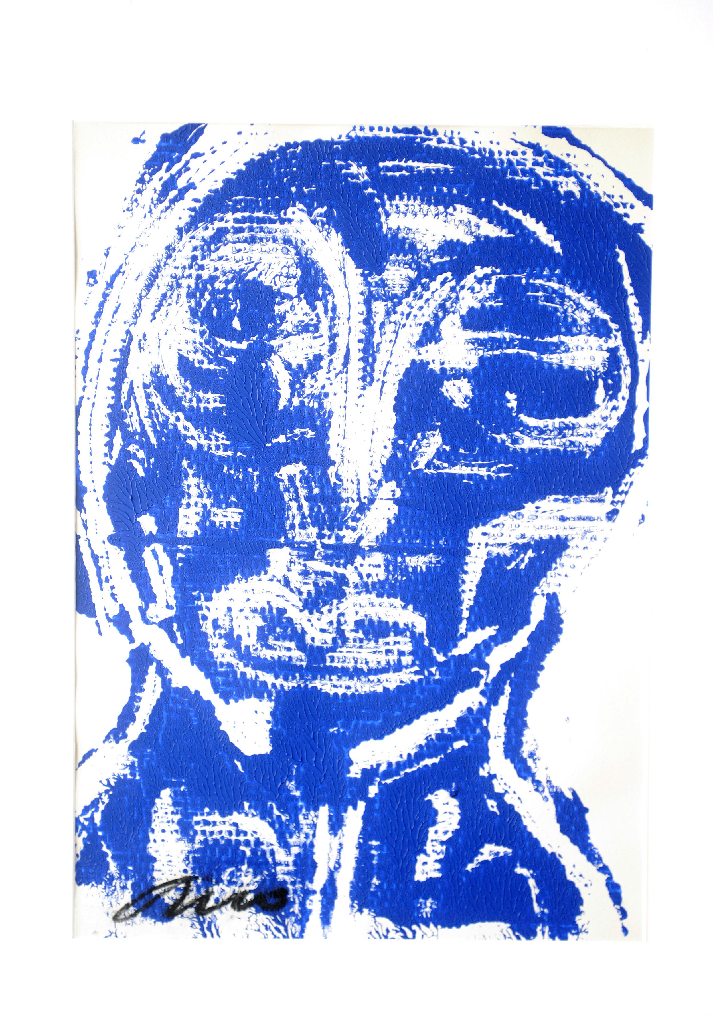 Blauw op wit