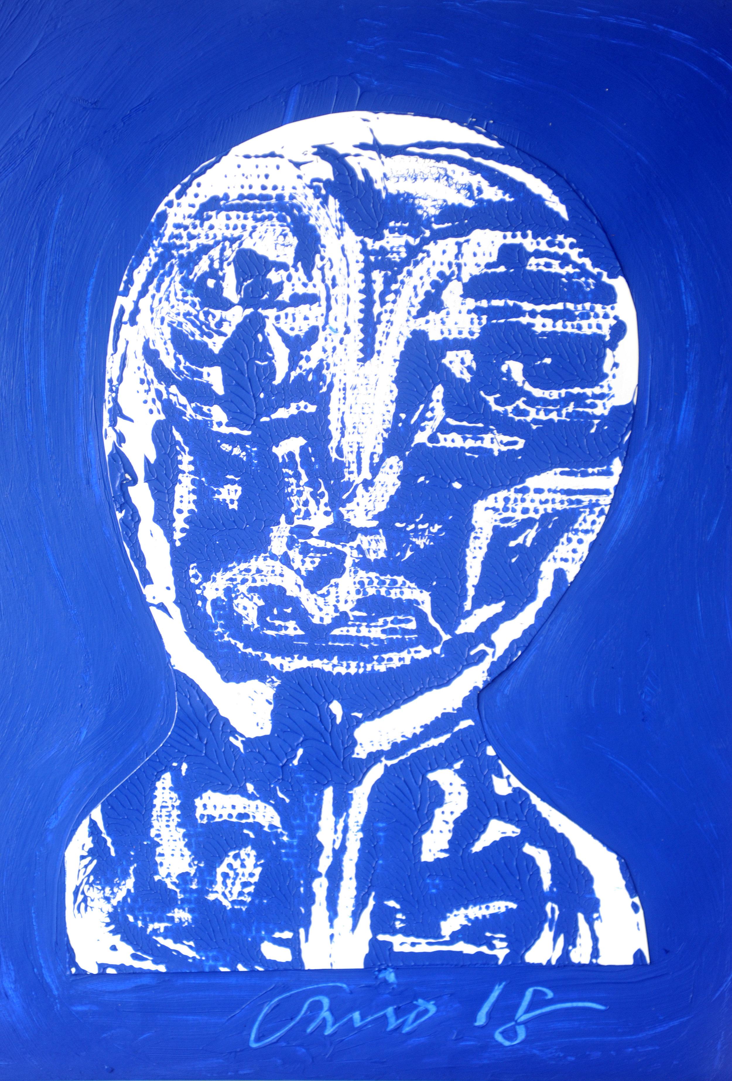 Wit op blauw