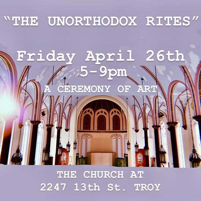 I'm excited to be part of this pop up show curated by UAlbany MFA students. If you're in the Capital District stop by The Church, 2247 13th Street Troy NY 12180 from 5-9. #popup #artshow #troynightout #unorthodoxrites