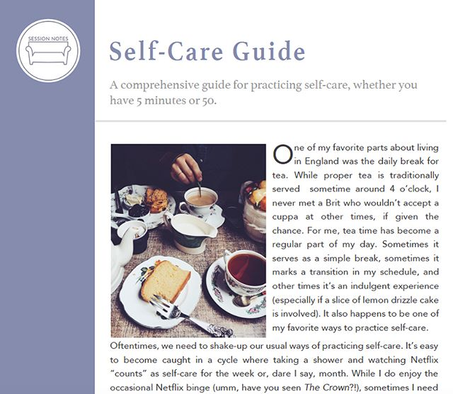 Have you received your FREE self-care guide yet?! It's 4️⃣ pages long and filled with 75 ideas for self-care, divided into sections based on the amount of time they take (5-15 mins, 30 mins-1 hr, and long term investments in yourself). Get the download link by signing up for our email list! Link in bio. Scroll ➡️ to see snapshots of the full guide. . . . . #sessionnotes #counselor #counseling #counselling #lpc #psychotherapy #schoolcounselor #socialworker #socialworker #lcsw #psychology #mentalhealth #mentalhealthawareness #mentalhealthmatters #bacp #therapist #selfcare #selfcarematters