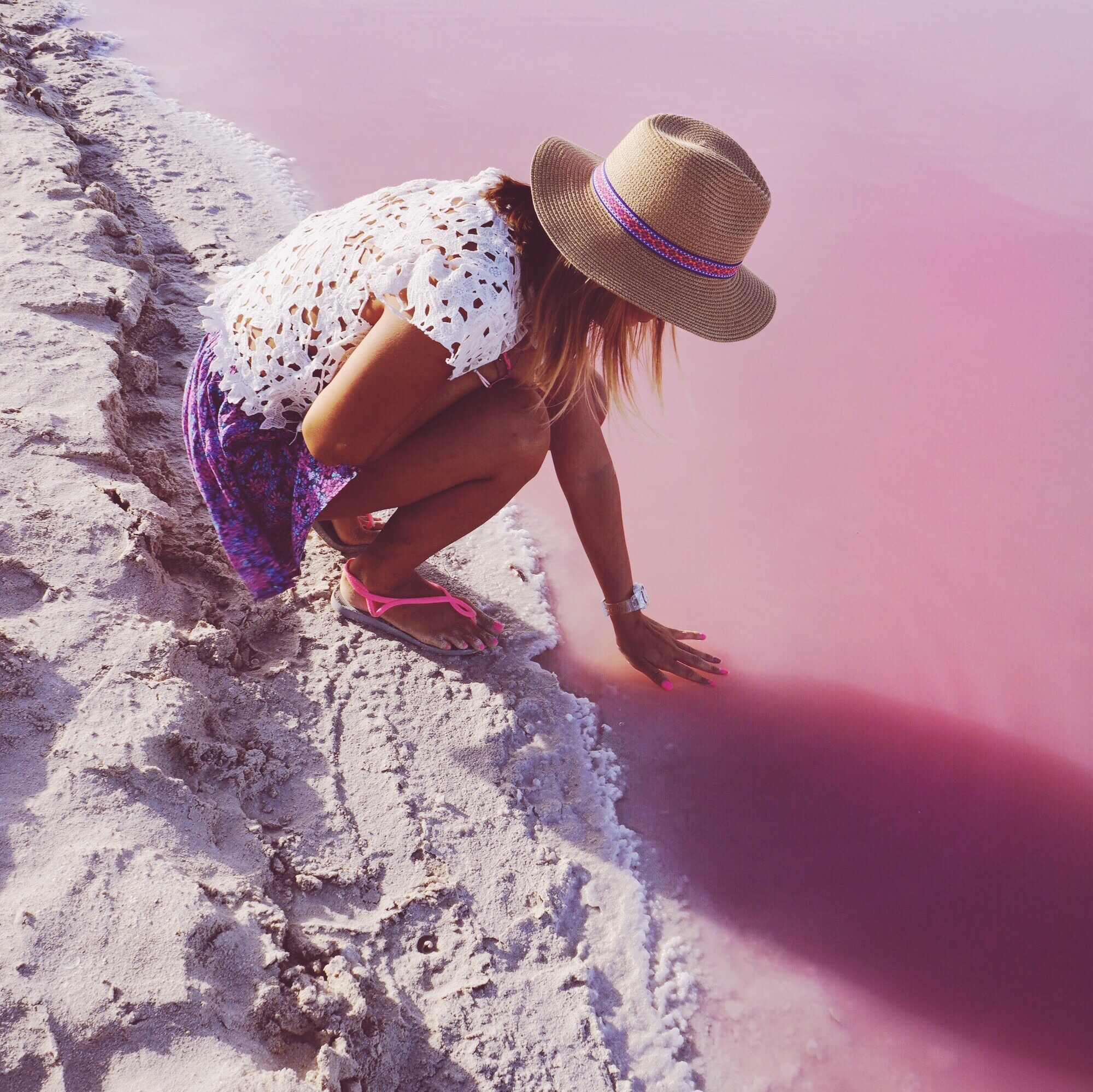 Have to touch that pink water!