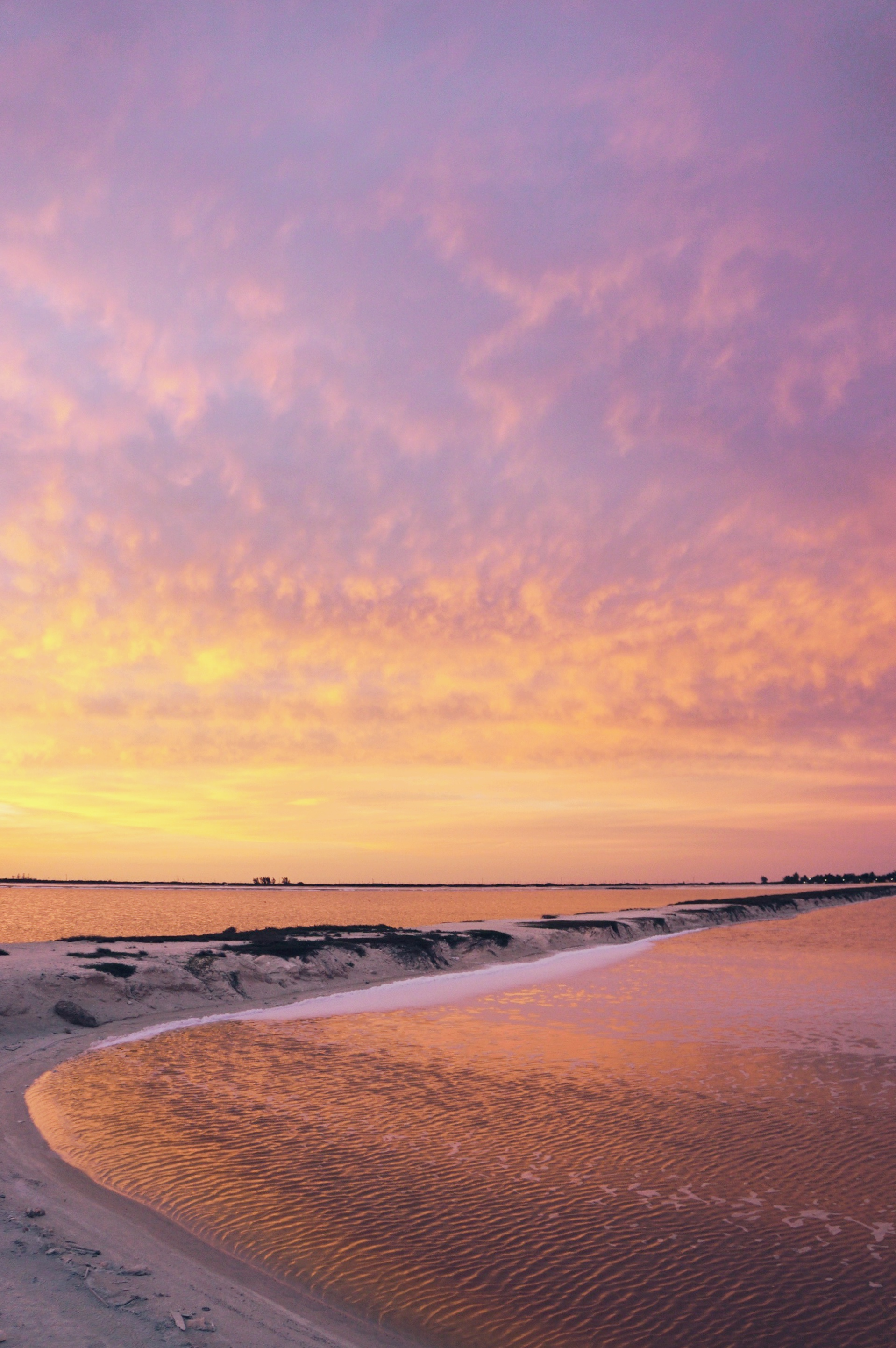 Pink and very golden sunset in Las Coloradas