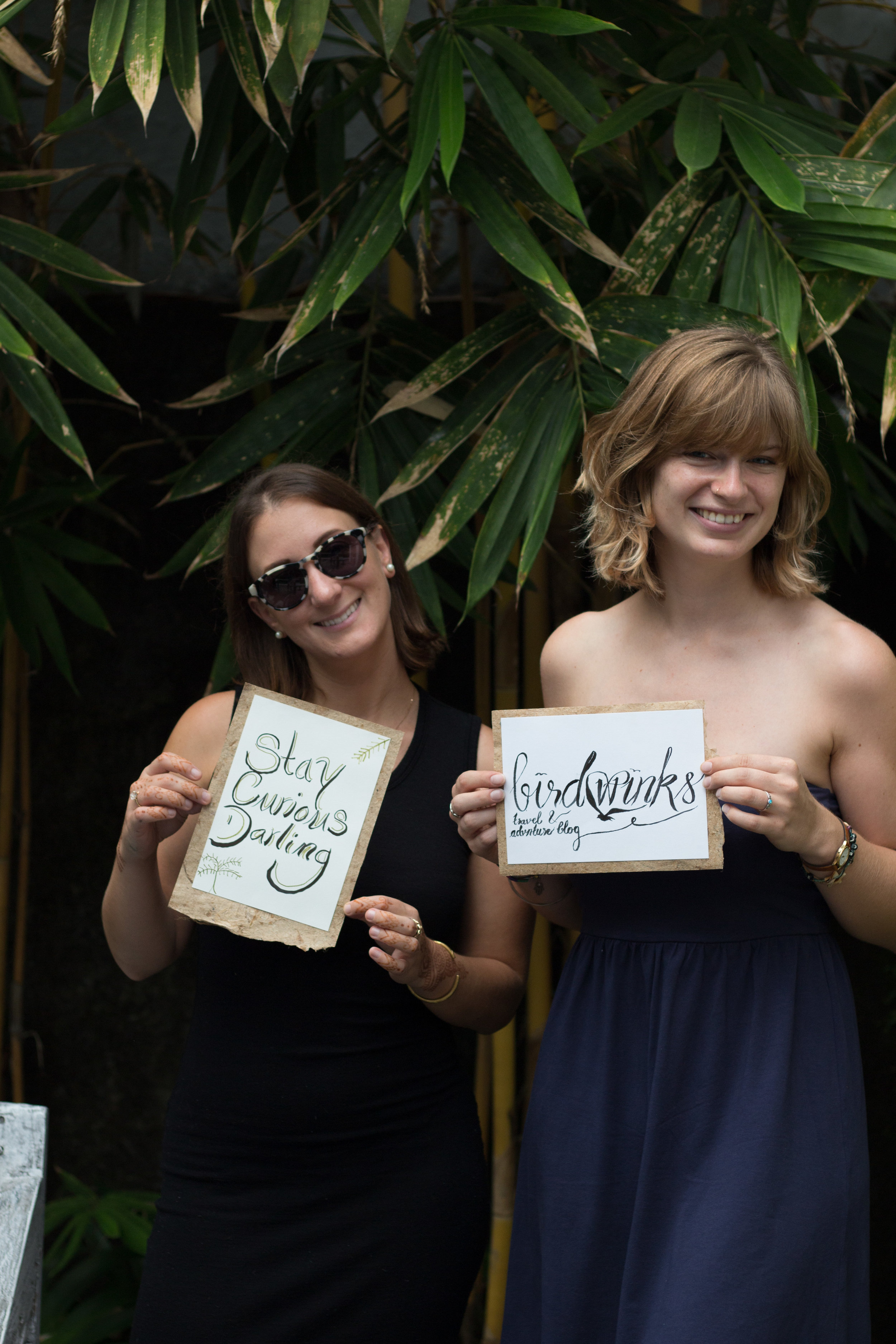 Brit and Christina learning the  Art of Brush Lettering and Calligraphy  with Learn With Locals.