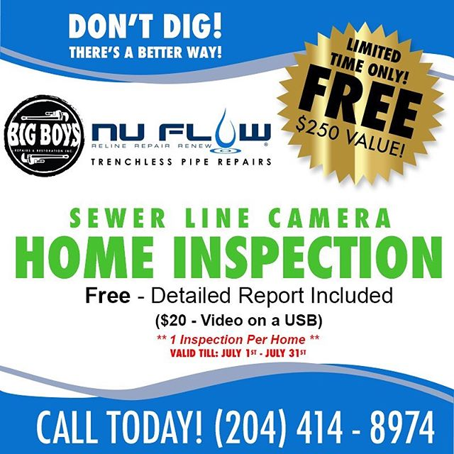 💥 FREE SEWER LINE CAMERA INSPECTION FOR THE MONTH OF JULY 💥 Send us a message or email more for more info!  #Bigboysrepairs #Winnipeg #Manitoba