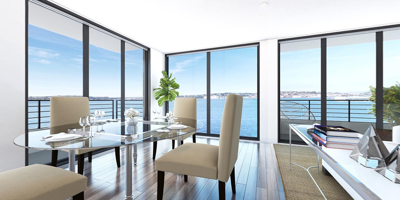 3 bedroom luxury condos in Seattle - dinning room - The Pinnacle at Alki