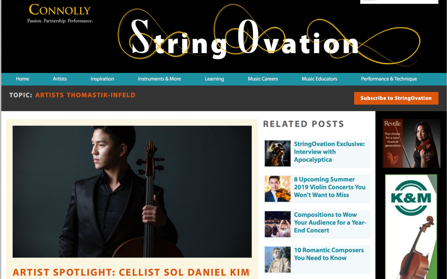 Online Article [English]   An article about Sol Daniel Kim and his testing of Thomastik-Infeld's new Versum Solo strings.  by The StringOvation Team - 06.02.2019